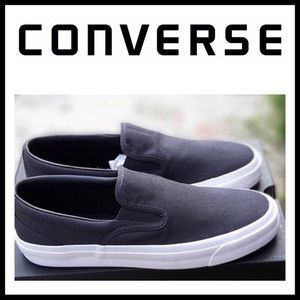 CONVERSE BLACK CANVAS LOW TOPS SLIP ONS A2C